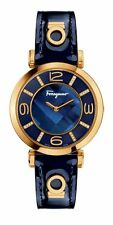 Ferragamo Women's FG3040014 GANCINO Deco 32 DIAMONDS Gold IP Blue Leather Watch