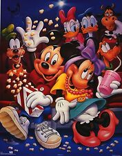 Walt Disney Poster~Mickey Mouse at the Movies Minnie,Donald Duck Matinee Popcorn