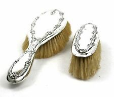 Antique Sterling Silver Hair Brush & Clothes Brush Set Foliate 1902 & 1912