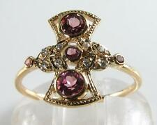 STUNNING 9CT GOLD PINK TOURMALINE DIAMOND FAN LONG FINGER ART DECO INS RING