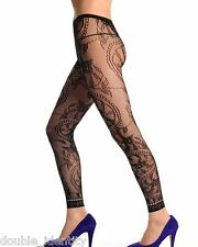 Crossdress Men Soft Black Fishnet Footless Floral Pantyhose Tights up to 36""