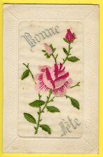 cpa Carte Ancienne BRODÉE Toile Broderie Postcard Embroidered BONNE FÊTE Fleurs