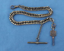 Heavy Vintage Antique Brass T Bar Watch Chain w Key Newcastle