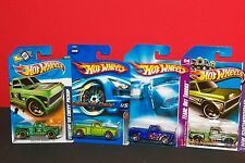 HOT WHEELS ~Custom `69 Chevy Pick up Trucks - lot of 4 ~ None the Same - Carded