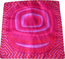 Jacqmar Vintage Silk Scarf - 1970s - Pink Psychedelic Graphic Print - Medium
