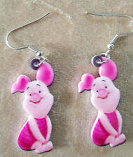 DOUBLE SIDED ACRYLIC WINNIE THE POOH PIGLET EARRINGS LIGHT WEIGHT ORGANZA BAG