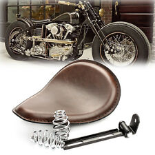 "Brown 3"" Motorcycle Solo Seat w/ Spring Bracket For Harley Chopper Bobber Custom"