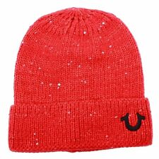 True Religion Women's Sequin Watch LOGO Cap Beanie Hat Red OSFM Free Shipping