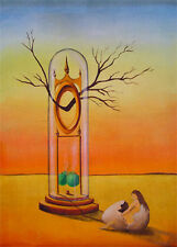 Signed aceo Surreal GERLEVE Old Clock Erotic Woman Egg Dali Style Trading Card