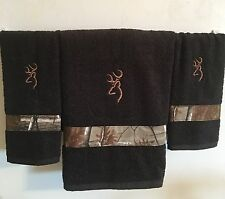 Embroidered ~CAMO BROWNING DEER~ Black Set Of 3 Hunting Bath & Hand Towels
