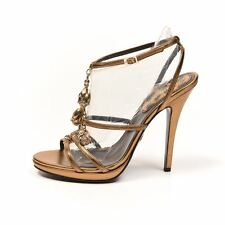 ROBERTO CAVALLI Sandals Gold Leather Floral Embellishments Size 39 RWW 219