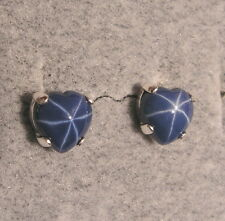 LINDE LINDY CF BLUE STAR SAPPHIRE CREATED HEART EARRINGS 2ND .925 S/S