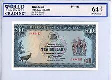 Rhodesia ... P-41a ... 10 Dollars ... 1979 ... *Gem UNC*