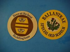 2 Beer Brewery Coasters ~ Boddingtons Beer  ~ Ballantrae Special Old Scotch ~ UK