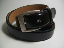 "Men Black leather belt with Brass Buckle M 34 - 36"" #523"