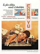 PUBLICITE CHEN YU ROUGE A LEVRES VERNIS ECHIQUIER DE 1950 FRENCH AD PUB VINTAGE