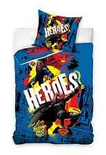 BATMAN v SUPERMAN HEROES Blue Single Bed Duvet Cover Set 100% COTTON