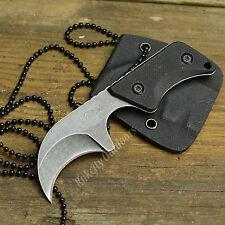 """MTECH 4"""" Blackwashed Finish Hawkbill G-10 Handle Fixed Blade Neck Knife W/Sheath"""