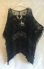 PLUS SIZE Ladies Italian Lagenlook Layering Batwing CROCHET BOXY Poncho Top NAVY