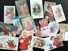 BB66 Lot of 15 Adorable VINTAGE PASTEL & PINK CHRISTMAS DIE CUTS 4 crafts making