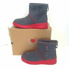 NEW Uggs Ugg Womens 7 38 EU Youth 5 Suede I Heart Kiss Mini Grey Boots Red Soles