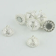 5pcs 12mm Silver Round Ball Bead Rhinestone Magnetic Clasp Jewelry Findings DIY