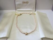 "17.5"" Pink Pearl Necklace w/14K Yellow Gold Flower Clasp Hand Knotted Zales"