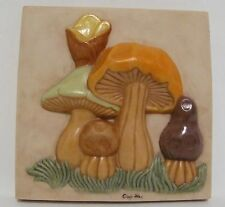 Cindy Way 1972 Hand Made Painted Vintage Mushrooms Tile Art Kitchen Dining Decor