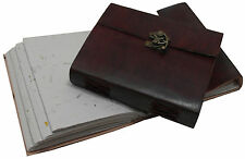 Medium Handmade Leather Sketchbook Scrapbook Diary with Lock and Petal Paper