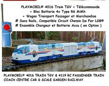 PLAYMOBIL® 4016 TRAIN TGV RC + 4119 WAGON TRANSPORT Custom Accessoire LGB ☆ 2 ☆