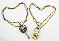 One Piece Thousand Sunny Bow Flag couple openable brass lock Necklace Lock & Key
