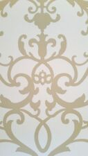 Large Formal Scroll Tan on Soft White Background Wallpaper AVL183641