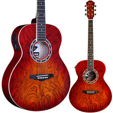 Lindo Red Lava Electro/ Electric Acoustic Guitar with LCD Tuner *Youtube Demo*
