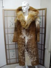 BRAND NEW BROWN & WHITE COW W COYOTE FUR COAT JACKET MEN MAN SIZE 44 DISCOUNT