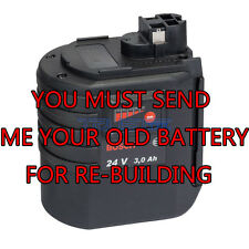 Rebuild service for Bosch 24 volt Ni-MH 3.0MAH battery BAT019, BAT20, or BAT21