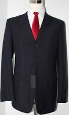 Prada Milano Solid Navy Blue Mohair Wool Three Button Suit 42 L 36 33 Flat Pants