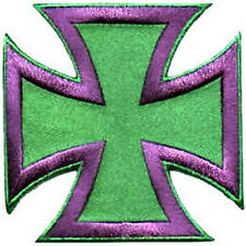 Iron On/ Sew On Embroidered Patch Badge Malta Cross Maltese Cross Green/ Mauve