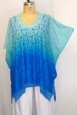 Coco & Juan Plus Size Tunic Lagenlook  Blue Ombre Lace Poncho OS Fits 1X,2X 3X
