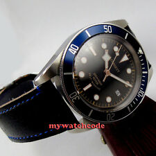 41mm corgeut black dial blue insert Sapphire Glass miyota Automatic mens Watch 8