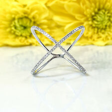 Womens 0.17CT 14K White Gold Diamond Crossover Cross Over X Ring Size 4