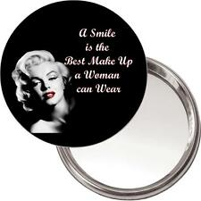 "Marilyn Monroe Makeup Mirror ""A smile is the ..."" in a black organza bag. NEW"