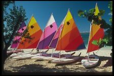 068050 Windsails On The Sand Negril Jamaica A4 Photo Print