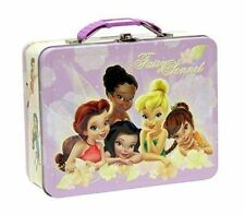 Tin Metal Lunch Snack Toy Box Embossed Disney Tinkerbell Fairies Friends NEW