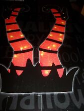 """HALLOWEEN TINSEL WITCH STAKES  INDOOR/OUTDOOR ORANGE/BLACK WITCH LEGS 34"""" TALL"""