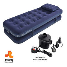 JILONG 3 IN 1 INFLATABLE FLOCKED AIR BED CAMPING MATTRESS FREE ELECTRIC AIR PUMP