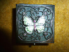 pretty metal and enamel BUTTERLY TRINKET BOX jewellery BRAND NEW