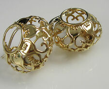 Vintage Stunning Ornate Wide Graceful 14k Yellow Gold Hoop Rare Pierced Earrings