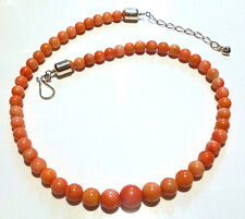 """20-22.5"""" DTR JAY KING PINK SALMON SKIN CORAL BEAD STERLING SILVER NECKLACE"""