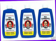 3 Mrs. Stewarts Concentrated LIQUID BLUING Whiten White Clothes Safely Non-Toxic