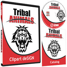 TRIBAL ANIMALS CLIPART-VINYL CUTTER PLOTTER IMAGES-EPS VECTOR CLIP ART CD